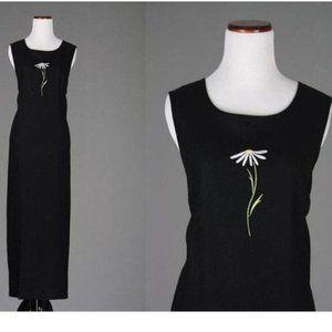 Vtg 90s Daisy Floral Black Sleeveless Maxi Dress